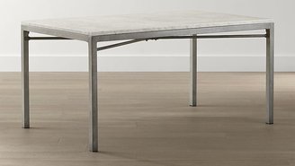 Crate & Barrel Marble Top/ Zinc X-Base 48x28 High Dining Table