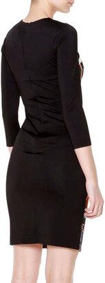 Just Cavalli 3/4-Sleeve Printed Front Sheath Dress