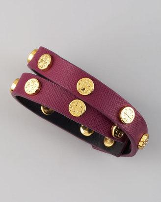 Tory Burch Logo-Studded Saffiano Wrap Bracelet, Violet