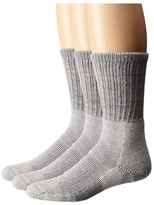 Thorlos Trekking Crew Thick Cushion 3-Pair Pack (Light Grey) Crew Cut Socks Shoes