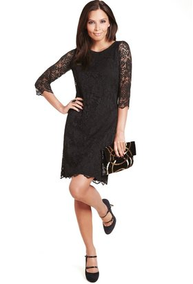 Marks and Spencer M&S Collection Slash Neck Floral Lace Shift Dress