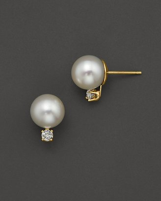 Bloomingdale's Cultured Pearl Stud Earrings with Diamonds, 8-8.5 mm