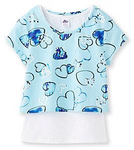 Sequin Hearts Miss Attitude Girls' 7-16 Aqua Blue Pop-Over Top