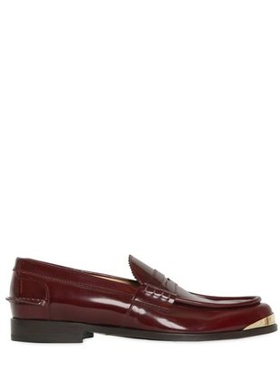 Brushed Leather Money Penny Loafers