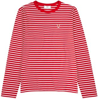 Ami Red Striped Cotton Top