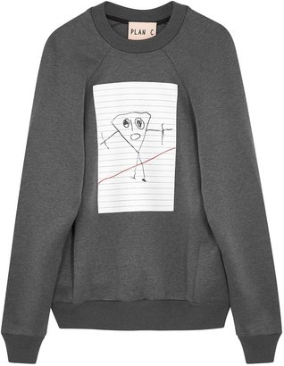 Plan C Grey Printed Cotton-blend Sweatshirt