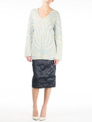 Carven Metallic Taffeta Long Skirt