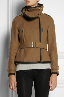 Burberry Leather-trimmed wool-blend twill jacket