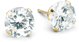 FINE JEWELRY 6mm 14K Yellow Gold Round Cubic Zirconia Stud Earrings $156.23 thestylecure.com
