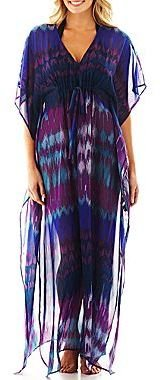 JCPenney Cover To Cover Print Chiffon Caftan Cover-Up