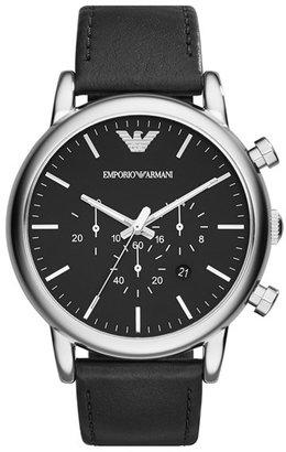 Men's Emporio Armani Chronograph Leather Strap Watch, 46Mm $225 thestylecure.com