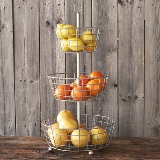 Sur La Table Brushed Aluminum Three-Tiered Stand
