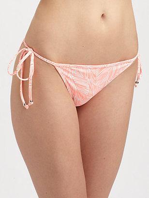 Milly Tropical Leaf-Print Bikini Bottom