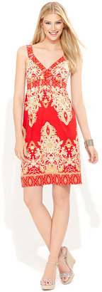 INC International Concepts Petite Dress, Sleeveless Exotic-Print A-Line