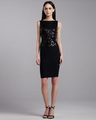 St. John Sequin Knit Sleeveless Dress, Caviar