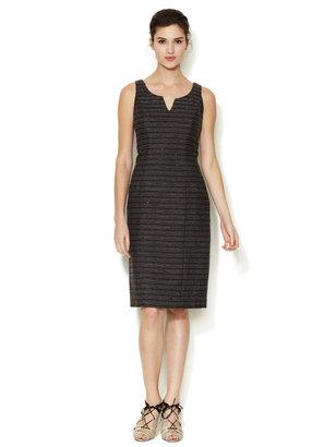 Carolina Herrera Split Neck Sequin Tweed Dress