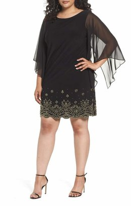 Xscape Evenings Embellished Chiffon Shift Dress