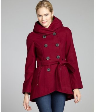 BCBGMAXAZRIA BCBGeneration red berry wool blend belted pillow collar double breasted coat