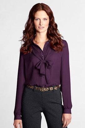 Lands' End Women's Regular Long Sleeve Georgette Bow Shirt