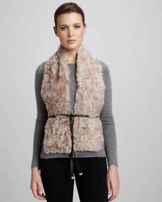 Diane von Furstenberg Curly Lamb Fur Vest, Stucco