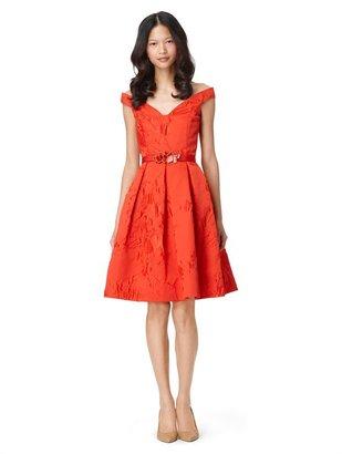 Oscar de la Renta V-Neck Off-The-Shoulder Dress With Full Skirt And Self Belt