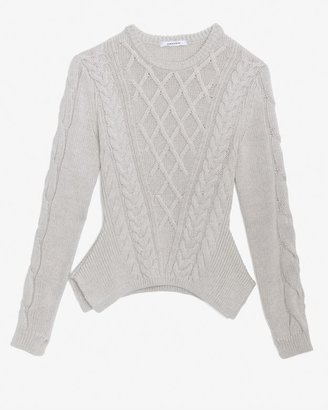 Carven Cable Knit Peplum Sweater