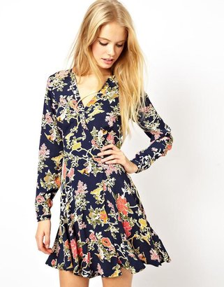 Asos Skater Dress With Wrap Front In Pretty Bird Print