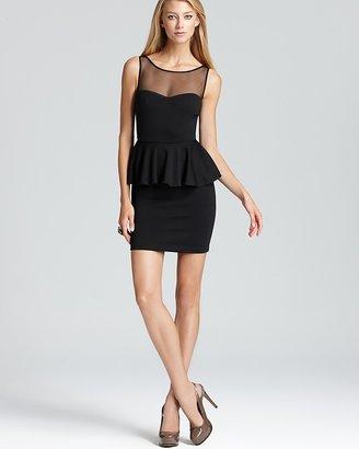 AQUA Ponte Dress - Illusion Peplum