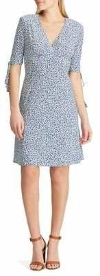 Chaps Dot-Print Fit--Flare Dress