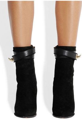 Givenchy Shark Lock suede wedge ankle boots