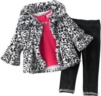 Little Lass faux fur jacket 3-pc. set - baby