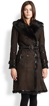 Burberry Patent-Trimmed Shearling Coat