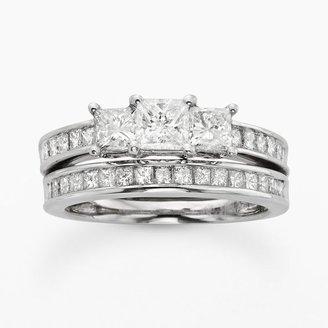 Platinum 1-ct. t.w. princess-cut igl certified diamond 3-stone ring set