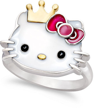 Hello Kitty Sterling Silver and 14k Gold over Sterling Silver Ring, Crown Ring