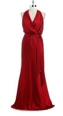 Nicole Miller Draped Silk Charmeuse Gown