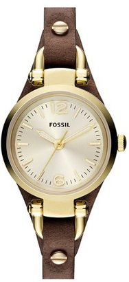 Women's Fossil 'Small Georgia' Leather Strap Watch, 26Mm $125 thestylecure.com