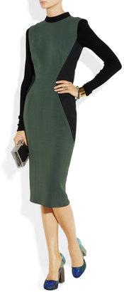 Victoria Beckham Two-tone rib-paneled silk and wool-blend dress