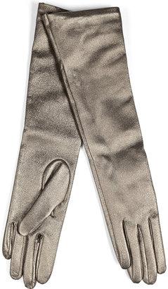 Jil Sander Leather Long Gloves in Gunmetal