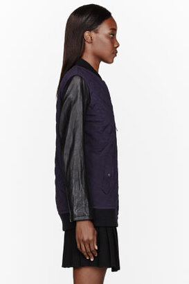 Rag and Bone RAG & BONE Purple Leather & silk quilted Pacific Jacket