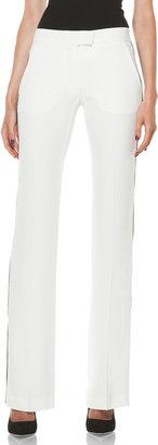 Alexander McQueen Narrow Viscose-Blend Tuxedo Trouser in Ivory