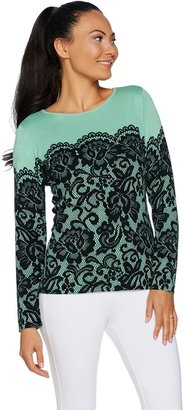 Bob Mackie Long Sleeve Printed Lace Pullover Sweater