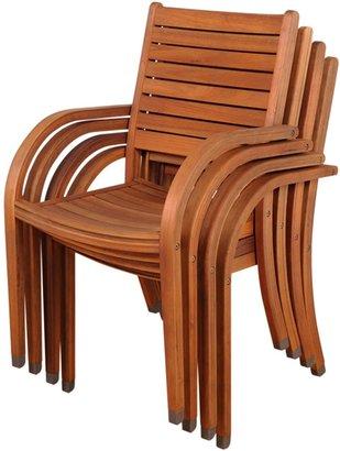 Amazonia Teak Amazonia Catalina 4-pc. Outdoor Stacking Chair Set