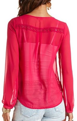 Charlotte Russe Lace Trim Sheer Button-Up Top