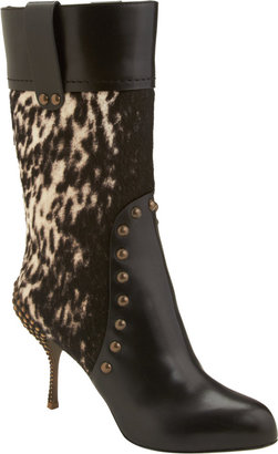 Sergio Rossi Studded Combo Mid-Calf Boot