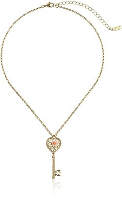 """1928 Jewelry Porcelain Rose Collection"""" Gold Tone Pink Porcelain Rose Key Pendant Necklace 16"""""""