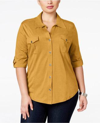 Style&Co. Style & Co Plus Size Three-Quarter-Sleeve Utility Shirt