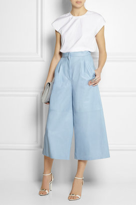 Cropped leather wide-leg pants