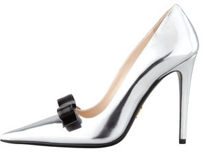 Prada Metallic Patent Bow Pump, Silver/Black