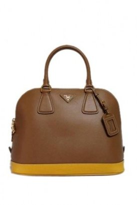 Prada excellent (EX Bicolor Saffiano Lux Leather Mimosa Caramel Bauletto Satchel Bag