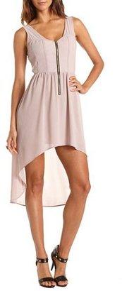 Charlotte Russe Zip-Front Hi-Low Chiffon Dress